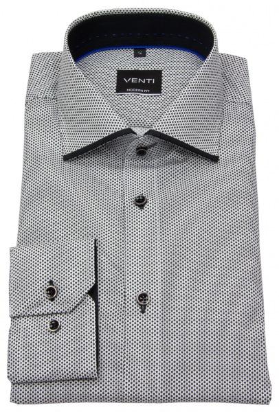 Venti Hemd - Modern Fit - Haifischkragen - Print - schwarz / weiß - 193136300 750