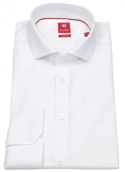 Pure Hemd - Slim Fit - Haifischkragen - Teilungsnähte - weiß - 3355-170 900