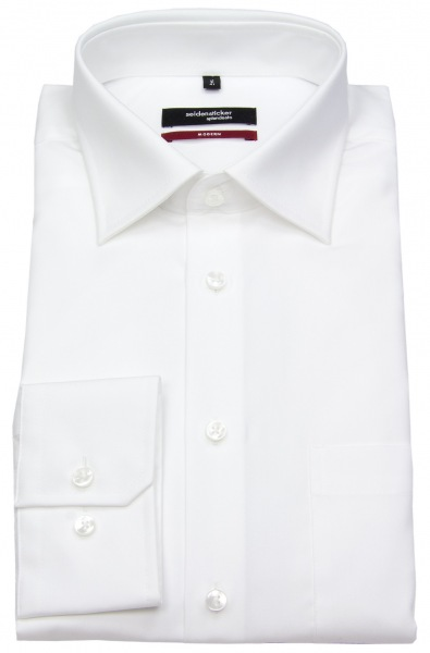 Seidensticker Hemd - Modern Fit - Fil-a-Fil - weiß - langer Arm 70cm - 003005 01