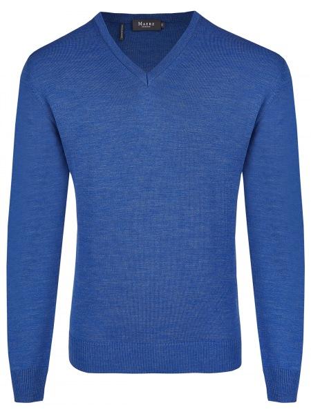 MAERZ Muenchen Pullover - Comfort Fit - V-Ausschnitt - Persian Blue - 490400 397