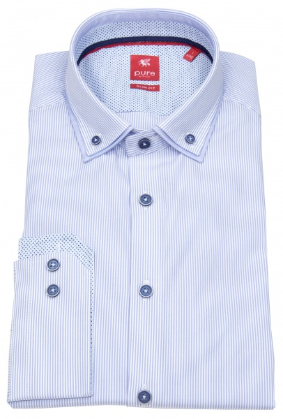 Pure Hemd - Slim Fit - unterlegter Button Down - hellblau / weiß - 81034-21501 160