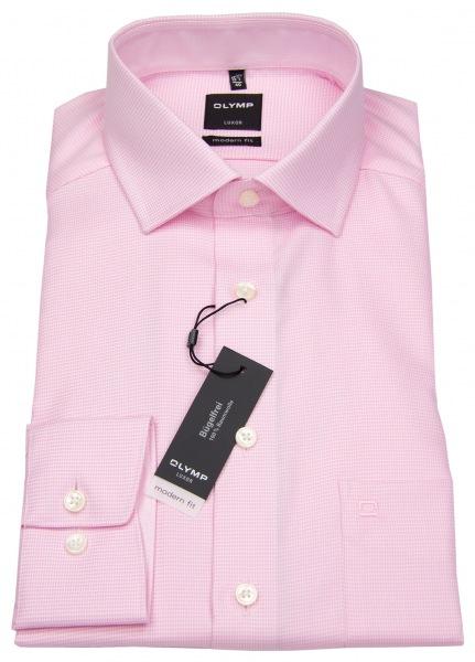 OLYMP Hemd - Luxor Modern Fit - Faux Uni - rosé / weiß - 0424 64 30