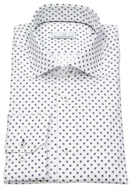 Einhorn Hemd - Modern Fit - Haikragen - Print - weiß / blau - 382710.1500 4