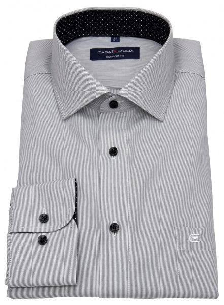 Casa Moda Hemd - Comfort Fit - Streifen - schwarz / weiß - 393159500 800