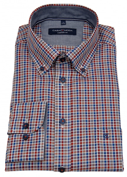 Casa Moda Hemd - Comfort Fit - Button Down Kragen - mehrfarbig kariert - 403535600 450