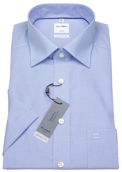OLYMP Kurzarmhemd - Luxor Comfort Fit - Check - hellblau / weiß - 3190 12 11