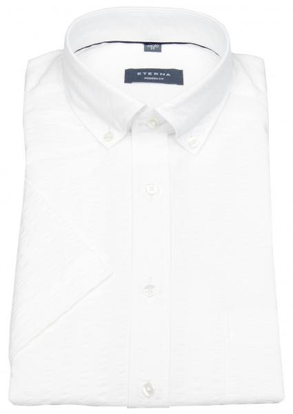 Eterna Kurzarmhemd - Modern Fit - Button Down - Struktur - weiß - 3790 C293 00