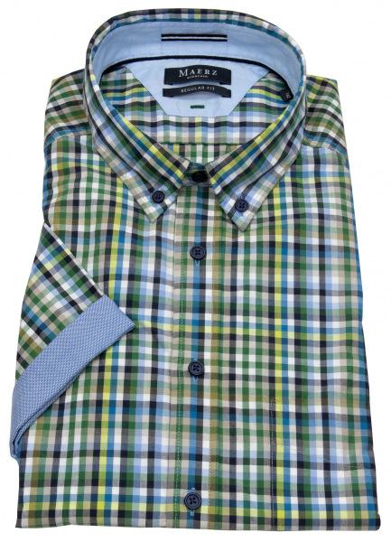 MAERZ Muenchen Kurzarmhemd - Regular Fit - Button Down Kragen - kariert - 720301 278