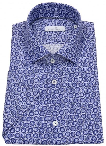 Einhorn Kurzarmhemd - Modern Fit - Leinen - Print - blau / weiß - 391715.1580 3