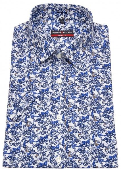 Marvelis Kurzarmhemd - Body Fit - Muster - blau / weiß - 7511 32 11