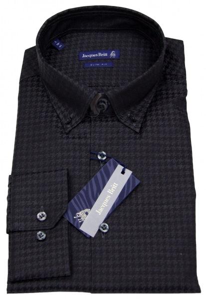Jacques Britt Hemd - Slim Fit - Button Down - Muster - schwarz - ohne OVP - 20.472370 38