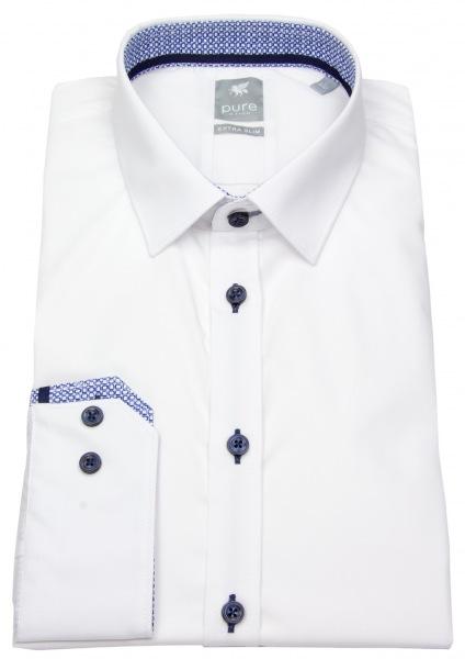Pure Hemd - Extra Slim - Patch - Kontrastknöpfe - weiß - 70cm Arm - 4014-804 900