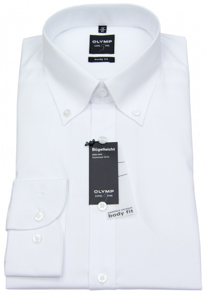 OLYMP Hemd - Level Five Body Fit - Button Down Kragen - weiß - 6093 64 00