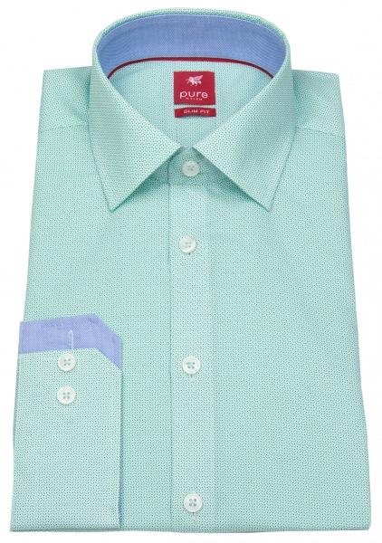 Pure Hemd - Slim Fit - Print - grün - ohne OVP - 3573-160 470