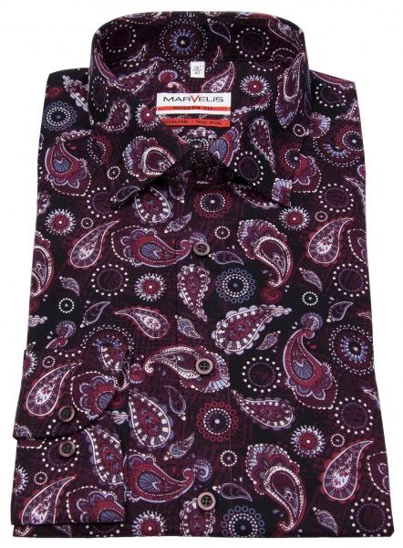 Marvelis Hemd - Modern Fit - Print - rot / weiß - langer 69cm Arm - 7206 29 38