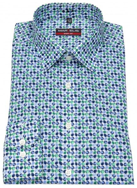 Marvelis Hemd - Body Fit - Print - dunkelblau / grün - 7512 54 45
