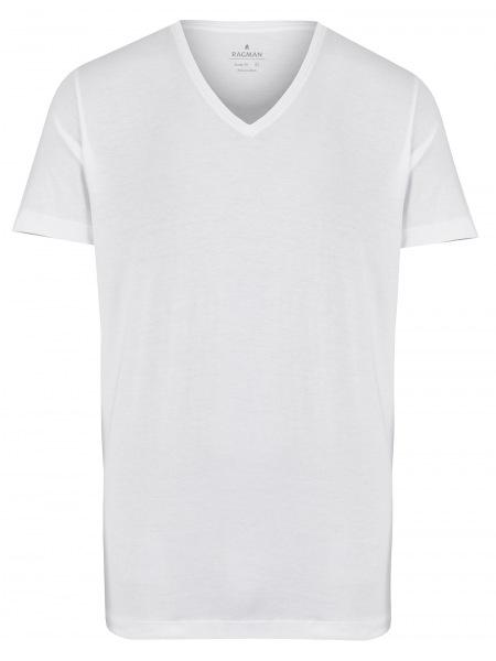 Ragman T-Shirt Doppelpack - Body Fit - V-Ausschnitt - weiß - 48057 006
