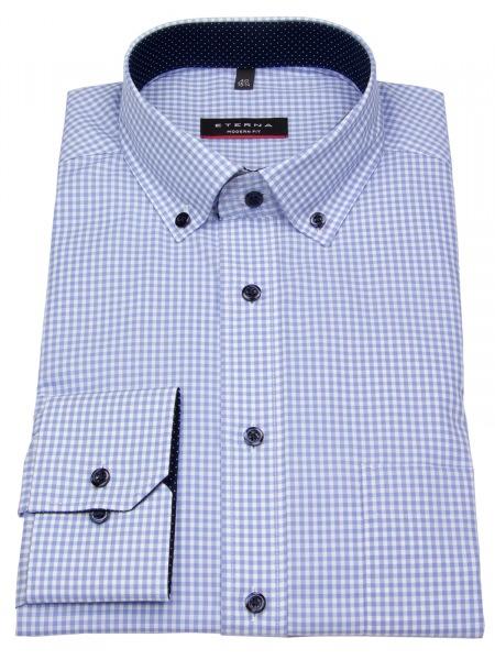 Eterna Hemd - Modern Fit - Button Down - Patch - hellblau / weiß - 8913 X143 12