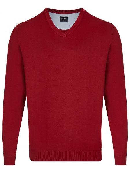 OLYMP Pullover - V-Ausschnitt - rot - 0160 10 05