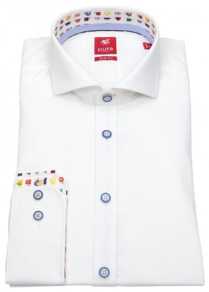 Pure Hemd - Slim Fit - Haikragen - Kontrastknöpfe - weiß - 71005-21714 900