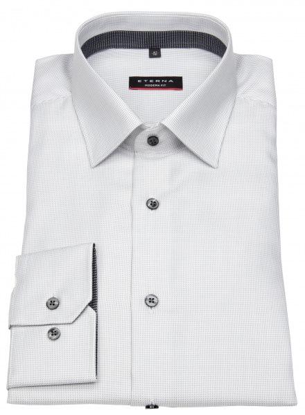 Eterna Hemd - Modern Fit - Twill Streifen - Kontrastknöpfe - grau - 3116 X94P 32
