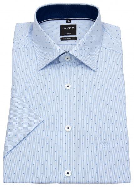 OLYMP Kurzarmhemd - Modern Fit - Patch - Print - hellblau / weiß - 0705 12 11