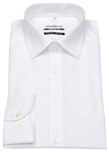 Marvelis Hemd - Comfort Fit - weiß - extra langer Arm 69cm - 7973 69 00