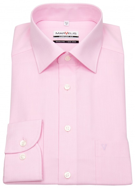 Marvelis Hemd - Comfort Fit - Chambray - rosé - 7959 64 32