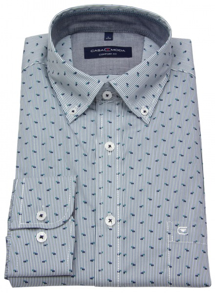 Casa Moda Hemd - Comfort Fit - Button Down - gestreift - blau - 493111100 100