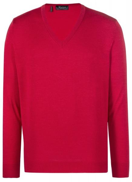 MAERZ Muenchen Pullover - Comfort Fit - V-Ausschnitt - Merinowolle - rot - 490400 450