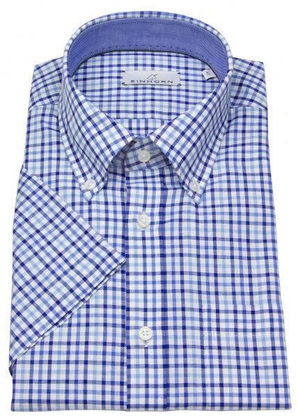 Einhorn Kurzarmhemd - Modern Fit - Button Down - blau / weiß kariert - 381735.1311 1