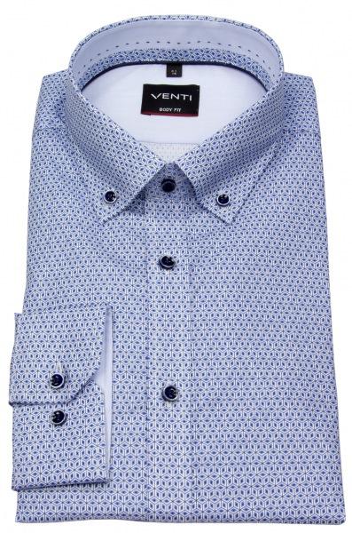 Venti Hemd - Body Fit Stretch - Button Down - Print - blau / weiß - ohne OVP - 193138100 100