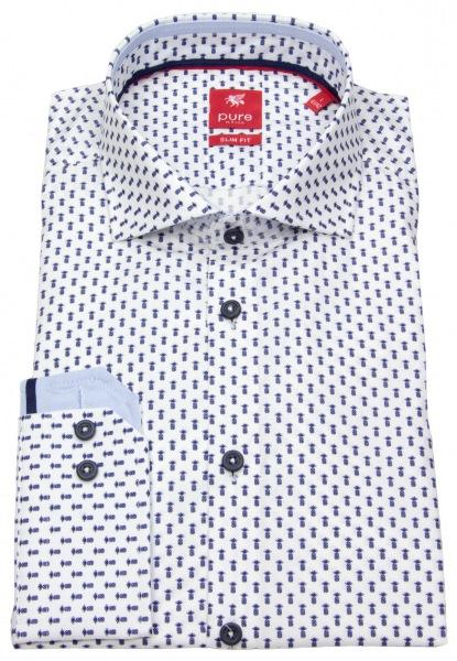 Pure Hemd - Slim Fit - Haikragen - Print - blau / weiß - 4007-182 176