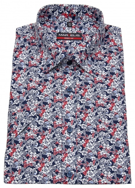 Marvelis Kurzarmhemd - Body Fit - Muster - rot / blau / weiß - 7511 32 35