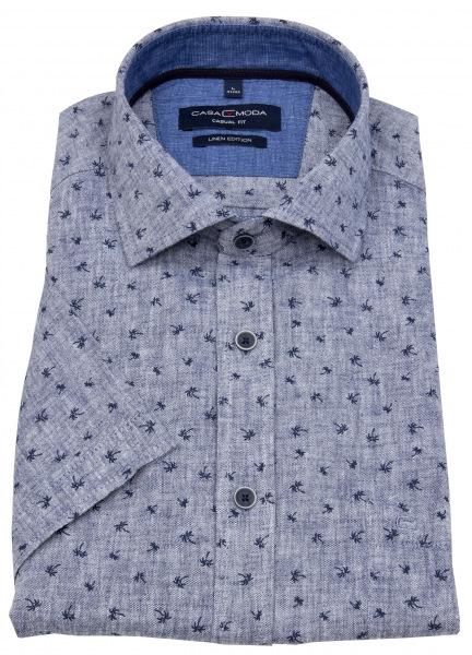 Casa Moda Kurzarmhemd - Casual Fit - Leinen - Print - blau - 903419700 101
