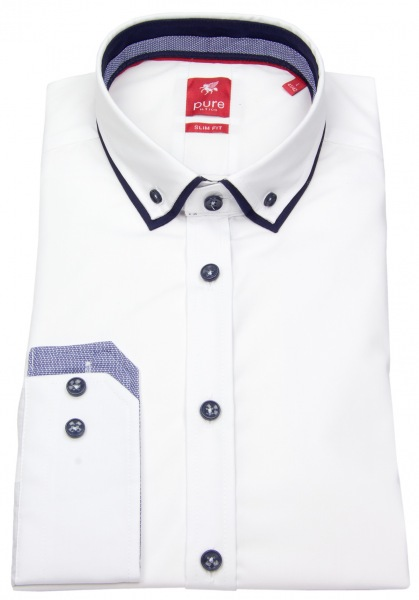 Pure Hemd - Slim Fit - Double Button Down - Patch - weiß - 3586-540 900