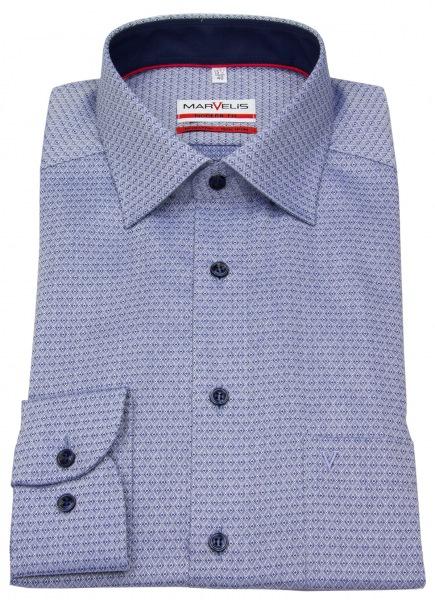 Marvelis Hemd - Modern Fit - Patch - Print - dunkelblau / weiß - ohne OVP - 7364 64 18