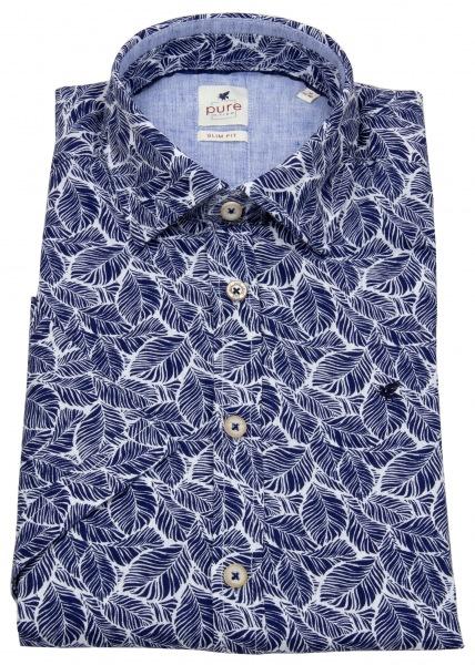 Pure Kurzarmhemd - Slim Fit - Print - blau / weiß - 71574-22119 176