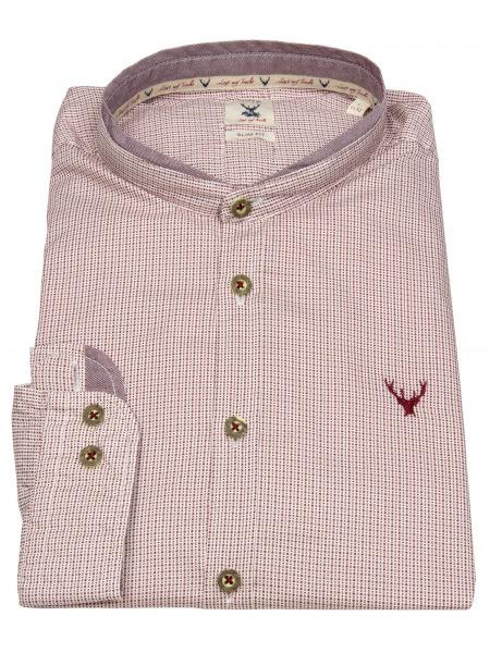 Pure Trachtenhemd - Slim Fit - Stehkragen - rot / weiß - 5014-21690 374