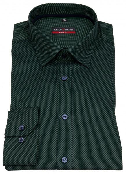 Marvelis Hemd - Body Fit - Muster - grün / dunkelblau - 7506 64 45