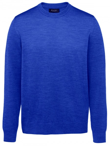 MAERZ Muenchen Pullover - Comfort Fit - Rundhals - Merinowolle - persian blue - 490500 397