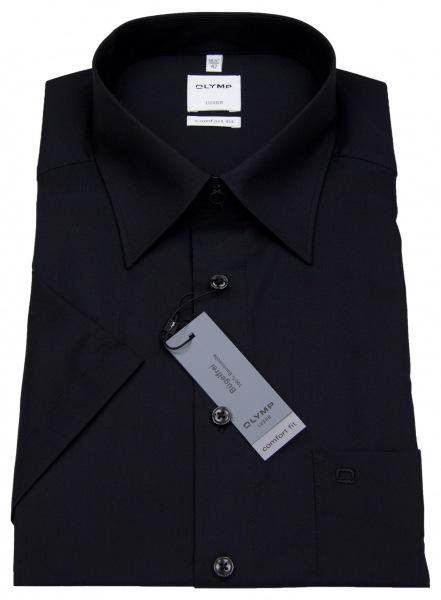 OLYMP Kurzarmhemd - Comfort Fit - schwarz - 0250 12 68