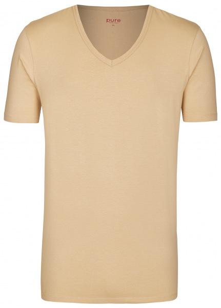 Pure T-Shirt - Slim Fit - V-Ausschnitt - caramel - 3399-92999 200
