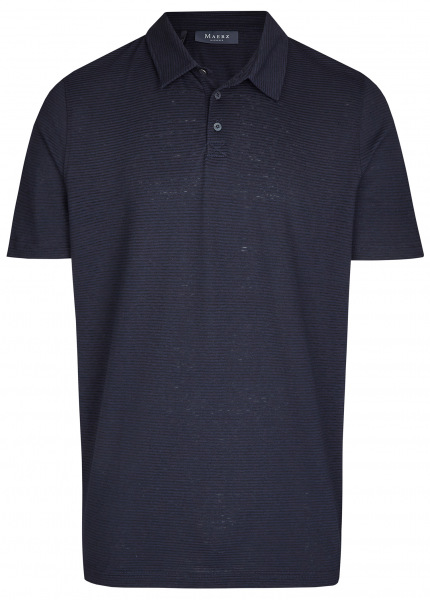 MAERZ Muenchen Poloshirt - Modern Fit - Baumwolle / Leinen - dunkelblau - 664901 399