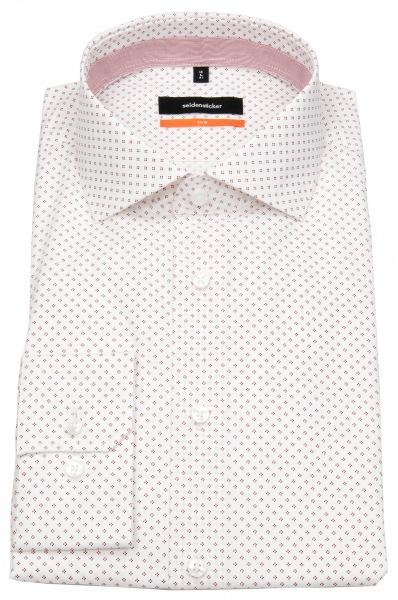 Seidensticker Hemd - Slim Fit - Haifischkragen - Print - rot / weiß - 662497 47