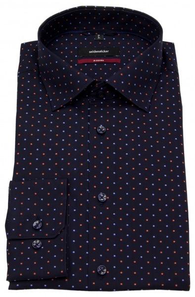Seidensticker Hemd - Modern Fit - Print - blau / hellblau / rot - 117390.18