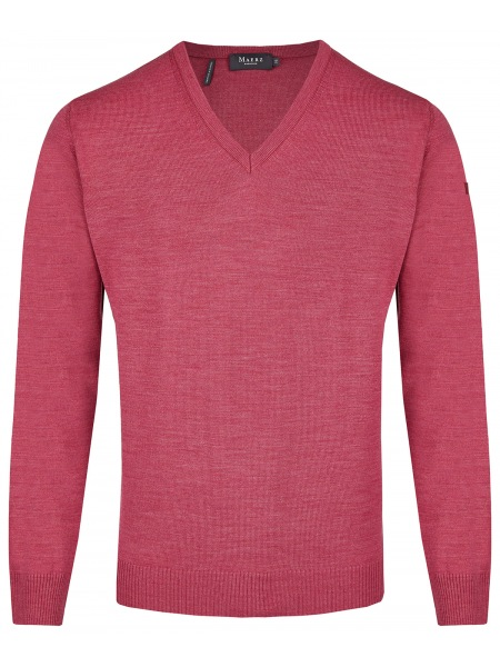 MAERZ Muenchen Pullover - Comfort Fit - V-Ausschnitt - Berry Smoothie - 490400 738