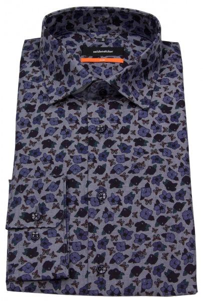 Seidensticker Hemd - Slim Fit - Print - blau - 661510 18