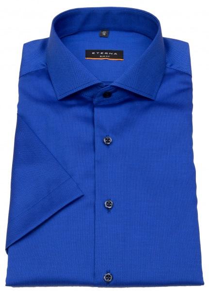Eterna Kurzarmhemd - Slim Fit - Haifischkragen - Struktur - blau - 3205 G182 17