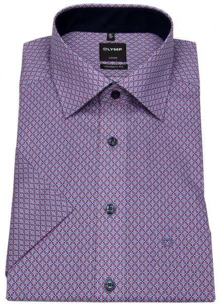 OLYMP Kurzarmhemd - Luxor Modern Fit - Print - mehrfarbig - 1284 52 35